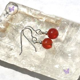 Classical Carnelian Silver Earrings